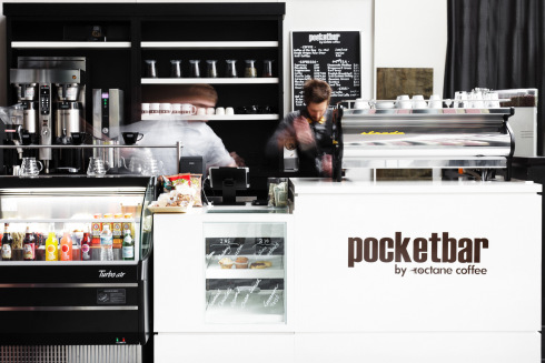 "Octane Coffee's new ""PocketBar"" at Bank of America Plaza."