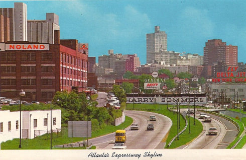 """""""This is the skyline I first remember: the BG (Bank of Georgia) tower is the loftiest thing in town, followed by its predecessor, the Fulton Bank building to the right on Marietta Street,"""" remembers Jim Auchmutey, who shares this vintage postcard from his collection."""