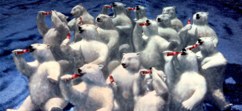 "Coca-Cola polar bears enjoying ice cold Coke and ""Northern Lights"", created by Ken Stewart."