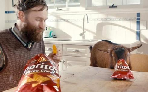 Mark Asworth, Doritos, and a goat, captured Superbowl gold.