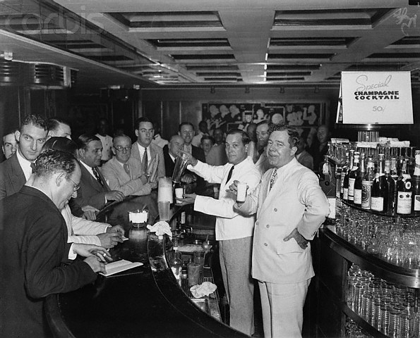 Louisiana Govenor Huey Long at Roosevelt Hotel's Sazerac Bar in New Orleans. 1930's.