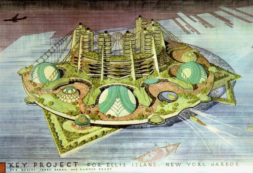 Frank Lloyd Wright's futuristic city concept for Ellis Island.