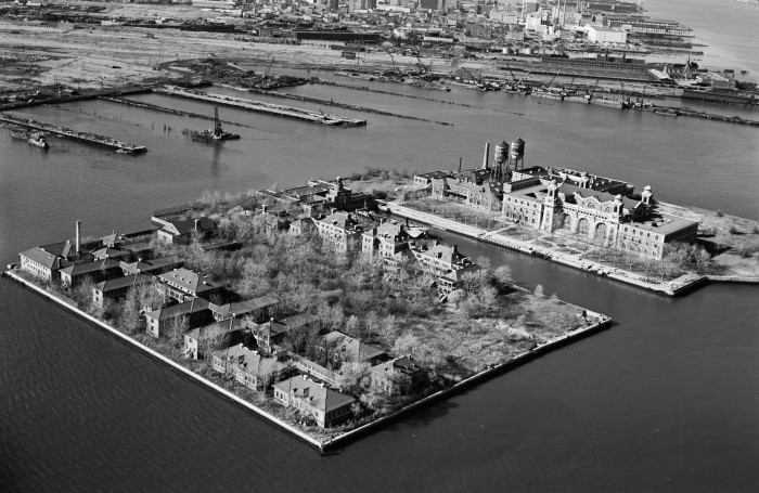 Aerial photo of Ellis Island in the 1970's.